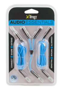 iFrogz Essentials Audio Aux, Split, Extend Blue