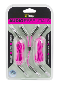 iFrogz Essentials Audio Aux, Split, Extend Pink