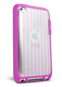 Apple iPod Touch 4th Gen Mix Pink Clear with Pink Pin Stripes