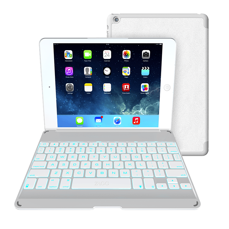 zagg folio ipad air keyboard case with backlit colors zagg. Black Bedroom Furniture Sets. Home Design Ideas